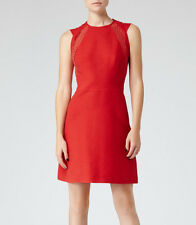 New Reiss Women's LACE COTTON DAY DRESS  POINSETTIA Red Size 10 US