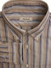 FACONNABLE Shirt Mens 16.5 L White - Brown Blue & Grey Stripes