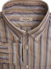 FACONNABLE Shirt Mens 16.5 L White - Brown Blue & Grey Stripes