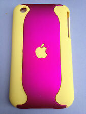 SOFT TOUCH 2-PIECE PLASTIC BACK CASE / COVER FOR APPLE iPHONE 3 3GS - HOT PINKS
