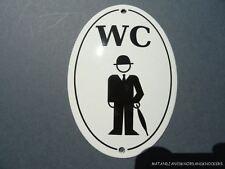 LARGE ANTIQUE STYLE ENAMEL GENTLEMAN WC TOILET DOOR SIGN BOWLER HAT UMBRELLA