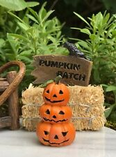 Miniature Dollhouse FAIRY GARDEN ~ Mini HALLOWEEN Pumpkin Patch Sign w Crow NEW