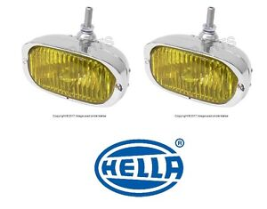For Porsche 356A 356C 911 912 Pair Set of 2 Fog Lights H3 w/ Yellow Lens Hella