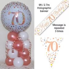 AGE 70th BIRTHDAY FOIL BALLOON DISPLAY - TABLE CENTREPIECE DECORATION  ROSE GOLD