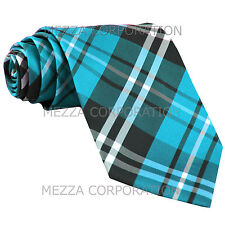 New Men's Vesuvio Napoli plaid checkered Neck Tie Necktie only Turquoise blue