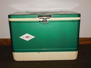 VINTAGE PICNIC LARGE AQUA GREEN METAL COLEMAN BEER SODA ICE COOLER