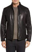 URBAN Men's Lambskin Real Leather Jacket Biker Soft Black Stylish Premium Coat