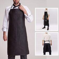 Men Faux Leather Bib Apron Waterproof Kitchen Cooking Restaurant Butchers Aprons