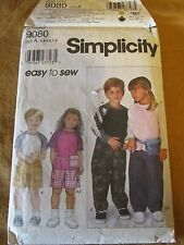 Simplicity 9080 Easy to Sew Child's Pants Shorts Bag and Knit Top Sizes 3 - 8