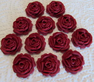 12 Ruby Red Roses Flowers Edible Cake Toppers Wedding,Cupcake,Birthday,