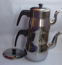 Stainless Steel Turkish Teapot Samovar Double Kettle Caydanlik Family Size