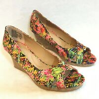 "Dexflex Comfort Size 8.5M Floral Open Toe Wedge Shoes High 2.8"" Heels"
