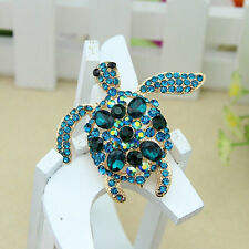 Large Sea turtle Rhinestone Crystal Animal Brooch Wedding Bridal Broach New