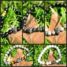 Fashion 8MM Natural Stone Wolf Elephant Head Buddha Beads Men Women Bracelets