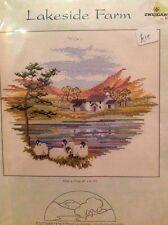 "derwentwater designs cross stitch kit, lakeside farm 8"" x 6.75"""