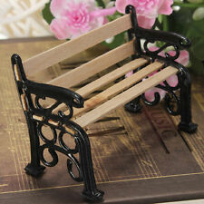 1/24 Wooden Bench Black Metal Dolls House Miniature Garden Furniture Accessories