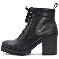 Damen Plateau Ankle Boots Stiefeletten Schwarz mit Reißverschluss Profilsohle