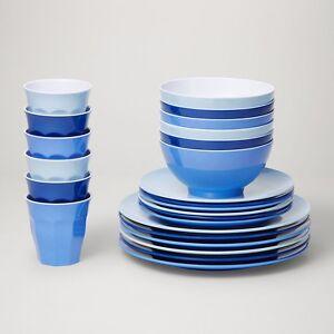 Barel Classic 24 Piece Melamine Dinner Set 'Glacier' - Tumblers, Plates, & Bowls