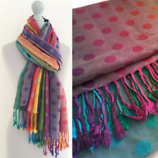 Ladies Long Bright Rainbow Scarf Pink Multi Colour Bubble Dots Pashmina Shawl