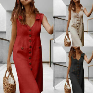 Women Boho Cotton Linen Button Summer Dress Ladies V Neck Midi Dress with Pocket