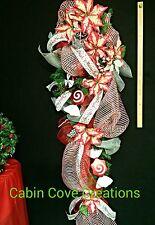 HUGE Teardrop Christmas Swag Sweet Treat Poinsettia red white silver Custom