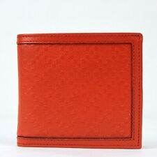 Gucci Men's Red Orange Diamante Leather Bi-fold Wallet w/coin Pocket 237359 6516
