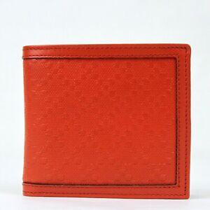 Gucci Men's Red Orange Diamante Leather Bi-fold Wallet w/coin Pocket 237359 6516
