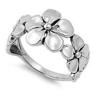 .925 Sterling Silver Plumeria Hawaiian Flower Promise Ring Size 3 4 5 6 7 to 13