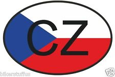 CZ CZECH REPUBLIC COUNTRY CODE OVAL WITH FLAG BUMPER STICKER