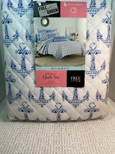 NEW! Cynthia Rowley Anchors Blue & White Full/Queen Quilt  2 Shams & Free Tote