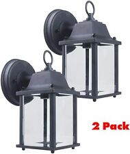 CORAMDEO Outdoor Wall Porch Light - Black Powdered Coat Cast Aluminum 2 Pack