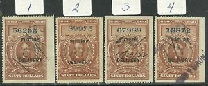 U.S. Revenue Future Delivery stamps scott rc18 - $60 Lincoln 1918/1934 issues