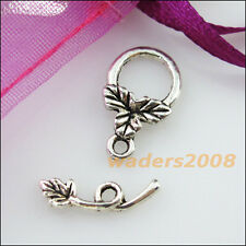 10 New Connectors Necklace Leaf Smooth Round Circle Toggle Clasps Tibetan Silver