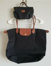 Longchamp Large Le Pliage & Small Bag Nylon Foldable Tote Handbag Black #1702
