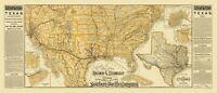 Texas Railroads Steamship Lines - Poole 1884 - 23.00 x 53.35