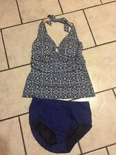 LANDS END NAVY BLUE MEDALLION  TAKINI HALTER 2PC BATHING SUIT SWIMSUIT 10 WOMENS