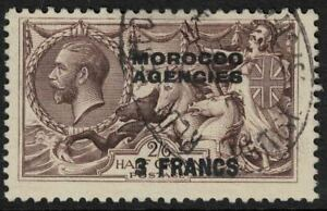 morocco agencies - sea horse 1924 - 3 francs on 2s 6d fine used sg200 nice canx