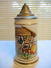 Antique Porcelain Beer Stein With Lithophane