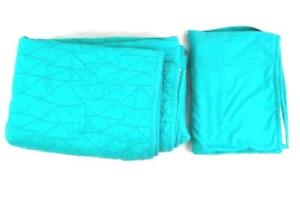 Pillow Fort Twin Size Quilt Bed Spread With Pillowcase Teal Green Comforter