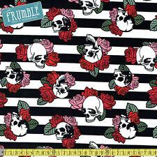 David Textiles Fabric Punk Skulls & Roses Black/White/Pink PER METRE Skull Skull