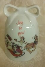 """New listing Designers Collection Porcelain """"Joy To You"""" Reindeer Sleigh Bell"""