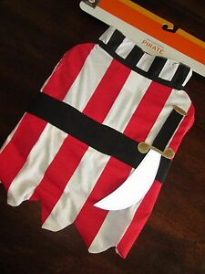 Pet DOG PIRATE COSTUME L Striped Suit LARGE NEW Halloween
