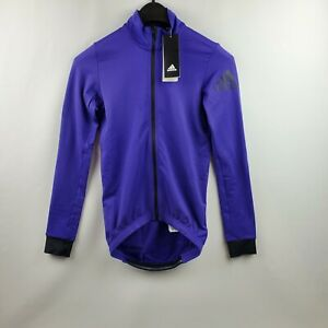 Adidas Men Climaheat Cycling Full Zip Purple Jacket BR7815 Size Small MSRP $120