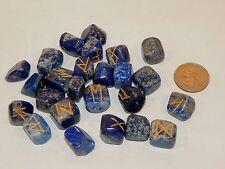 Lapis Lazuli Engraved Rune Stone Set, with Symbols Chart and Cloth Bag (7498)