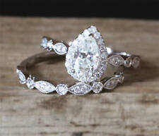 Pear Cut Diamond 2CT Solitaire Bridal Set Engagement Ring 10K White Gold Over