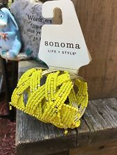 Seed Bead Beaded Cuff Bracelet Costume Jewelry Sonoma Life + Style Yellow & Gold