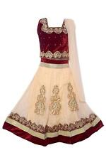 Girls  maroon Net Lehenga Choli Ghagra Indian Ethnic Wear Dress for Kids