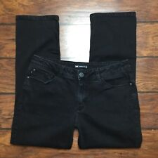 Lee Perfect Fit Jeans Size 16 Short Womens Black Denim Stretch Straight Leg