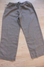 BODEN  brown linen  crop  trousers 10R   stretch waist