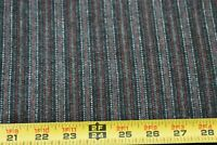 """By 1/2 Yd, 61"""" Wide, Black Gray Red White Striped Lt-to-Mid Weight Wool, N5611"""